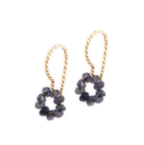 Neeltje Slater Iolite Drop 14ct Yellow Gold Earrings