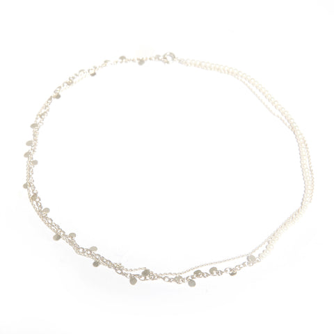 Neeltje Slater Pearl Leaves Silver Necklace