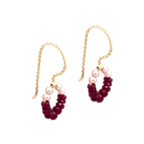 Neeltje Slater Ruby Pearl Drop 14ct Yellow Gold Earrings