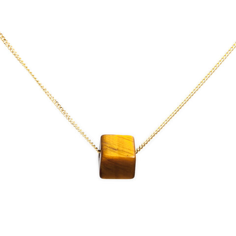 Cole & Wolfe 'Cubo' Tiger Eye 9ct Yellow Gold Necklace