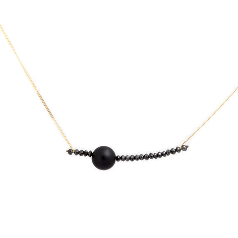 Nicole Van Der Wolf Phosphorescence Long Drop Black Diamond 18ct Yellow Gold Necklace