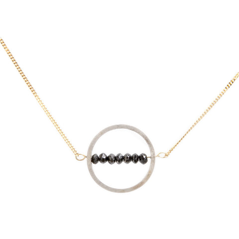 Nicole Van Der Wolf Phosphorescence Round Silver Black Diamond 18ct Yellow Gold Necklace