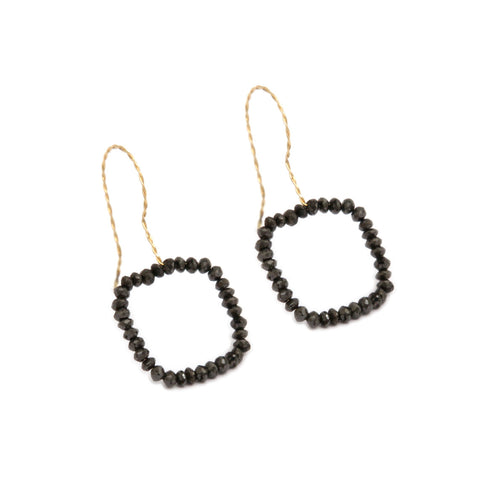 Nicole Van Der Wolf Phosphorescence Square Black Diamond 18ct Yellow Gold Earrings