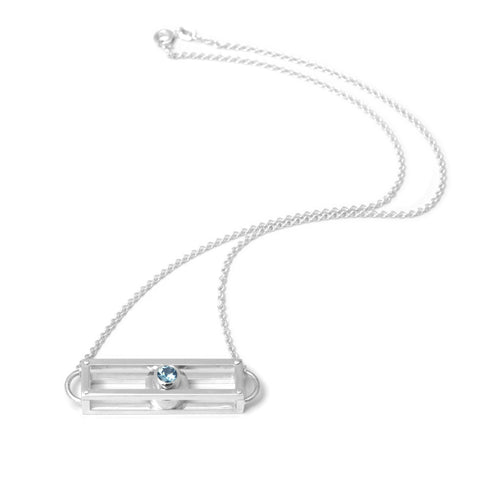 Cole & Wolfe 'Shipshape' Aquamarine Silver Necklace