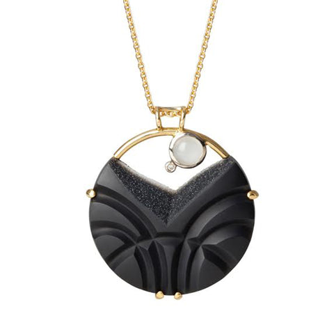 Nicole Van Der Wolf  Snowscape Black Onyx Druze Moonstone Diamond 18ct Yellow Gold Necklace