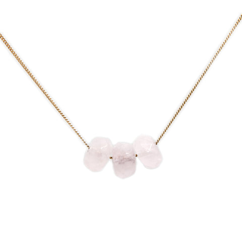 Cole & Wolfe 'Trio' Rose Quartz 9ct Yellow Gold Necklace