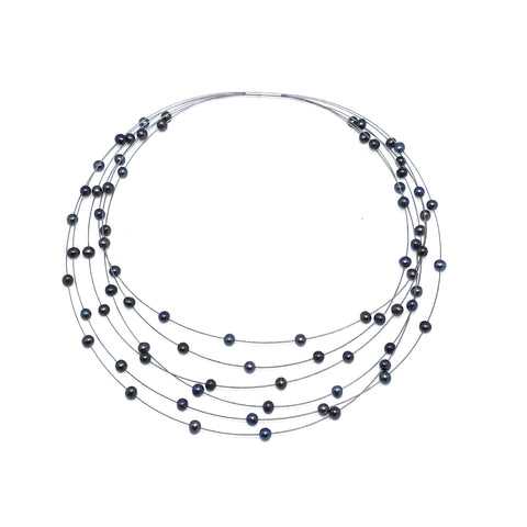 Parsprototo Galaxie No.6 Stainless Steel Freshwater Pearl Necklace
