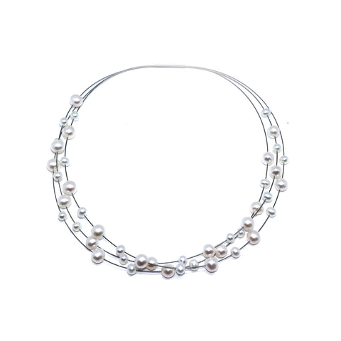 Parsprototo Stainless Steel Freshwater Mix Sizes Pearl Necklace