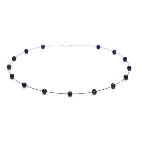 Parsprototo Stainless Steel Wire And Black Freshwater Pearl Necklace