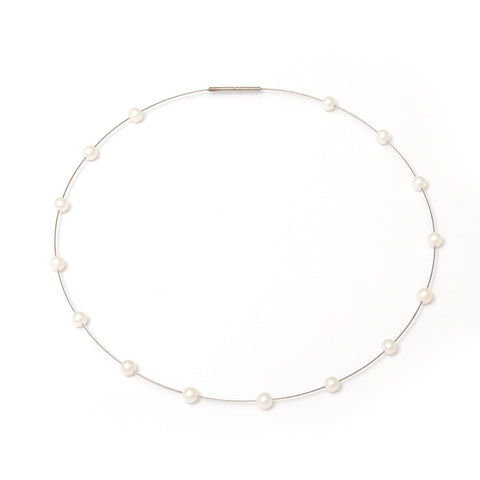 Parsprototo Uno Steel Wire And White Freshwater Pearl Necklace