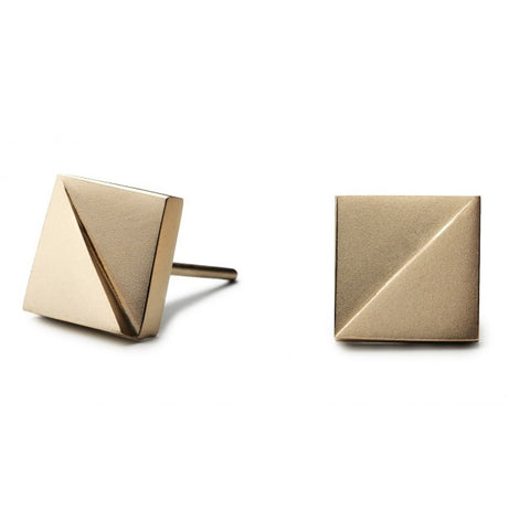 Patrik Hansson Divide Square 18ct Yellow Gold Earrings