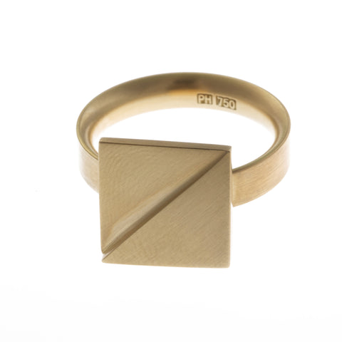 Patrik Hansson Divide Square 18ct Yellow Gold Ring