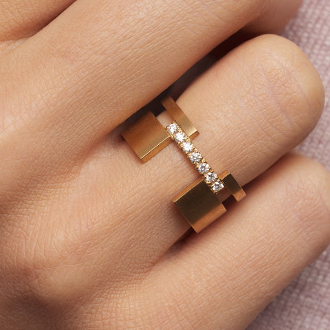 Patrik Hansson Between 18ct Yellow Gold Satin Diamond Ring