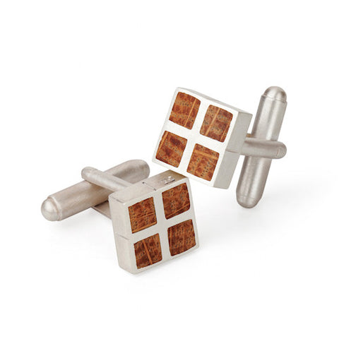 Paul Coyne Irish Whiskey Barrel Oak Silver Cufflinks