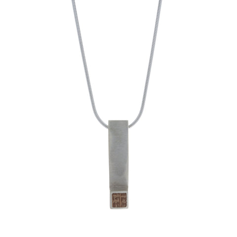 Paul Coyne Single Square Dew Whiskey Barrel Oak Silver Necklace
