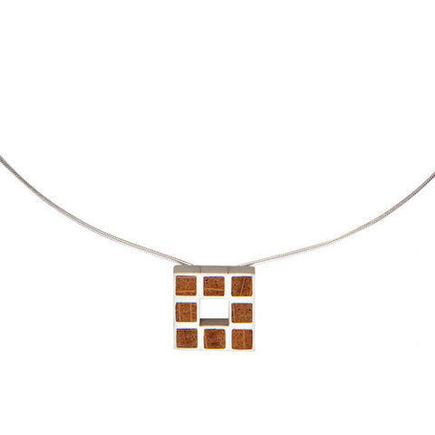 Paul Coyne Whiskey Barrel Oak Square  Silver Necklace