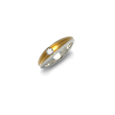 Paul Finch Shell 22ct Yellow Gold Plated Silver Diamond Ring