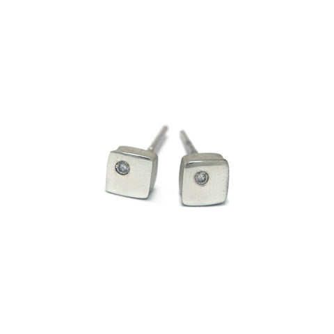 Paul Finch Square Silver Diamond Earrings
