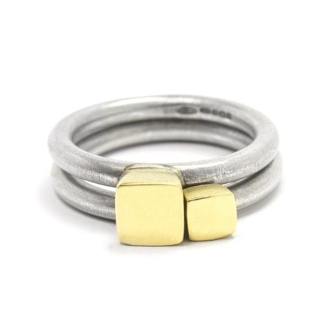 Paul Finch Silver Ring set with 18ct Yellow Gold Detail