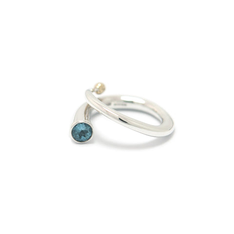 Paul Finch Tapered End Blue Topaz Silver Ring