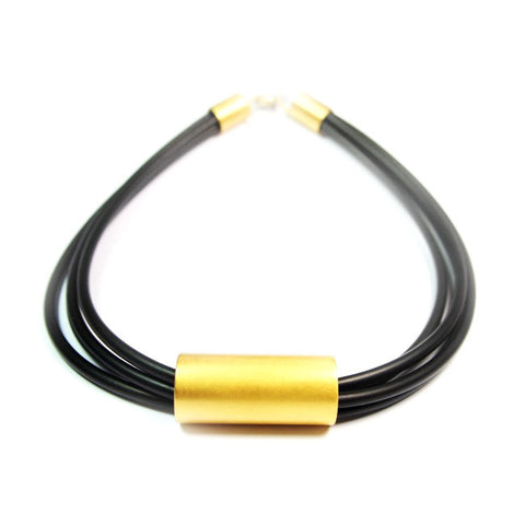 Ursula Muller 4 Strand PVC Tubing Black Gold Plated Silver Earrings