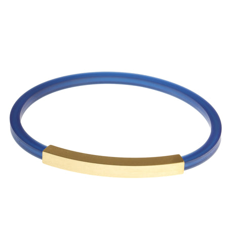 Petra Meiren Blue Gold Plated Square Tube Silver Bracelet