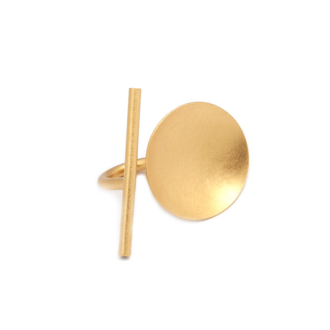 Petra Meiren 'Gold Disc'  Yellow Gold Plated Silver Ring