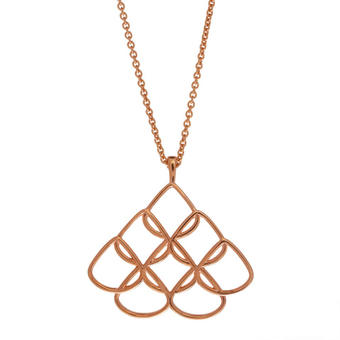 Rionore Interwoven Signature Large 80cm Chain Rose Gold Plated Silver Necklace