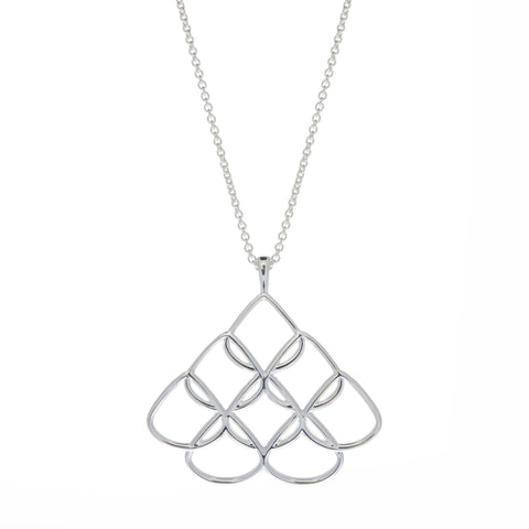 Rionore Silver Interwoven Signature Small Pendant On 60cm Chain