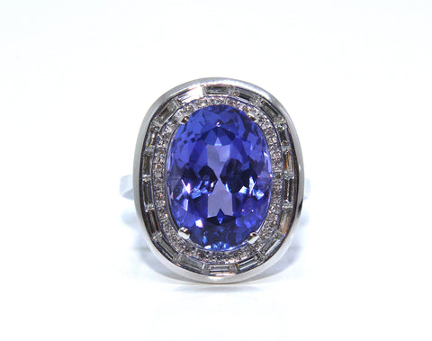 Ronan Campbell Tanzanite and Diamond Platinum Ring