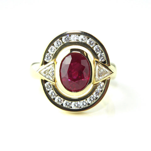Rudolf Heltzel 18ct Yellow Gold Burmese Ruby & Diamond Ring
