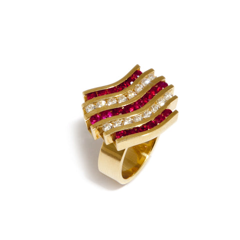 Rudolf Heltzel 18ct Yellow Gold Wave Ruby Diamond Ring