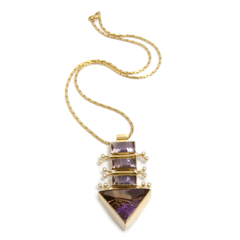 Rudolf Heltzel Ametrine And Diamond 18ct Yellow Gold Necklace