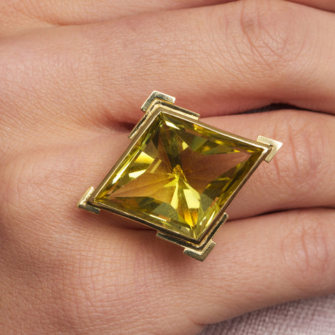 Rudolf Heltzel Platinum Lime Quartz 18ct Yellow Gold Ring