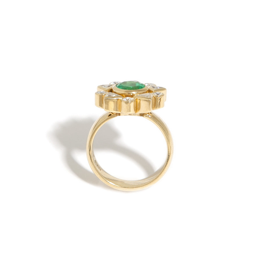 Rudolf Heltzel 18ct Yellow Gold Colombian Emerald Diamond Ring