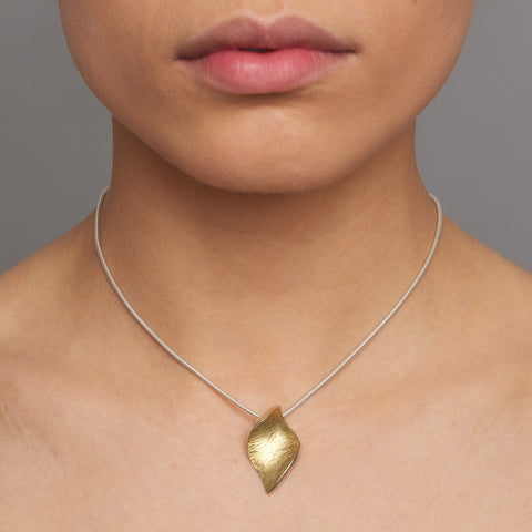Seamus Gill Flowing Curves Small Leaf Yellow Gold Plated Silver Necklace