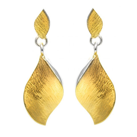 Seamus Gill Flowing Curves Leaf Yellow Gold Plated Silver Earrings
