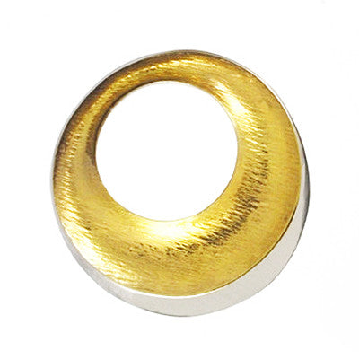 Seamus Gill Flowing Curves Round Gold Plated Silver Brooch