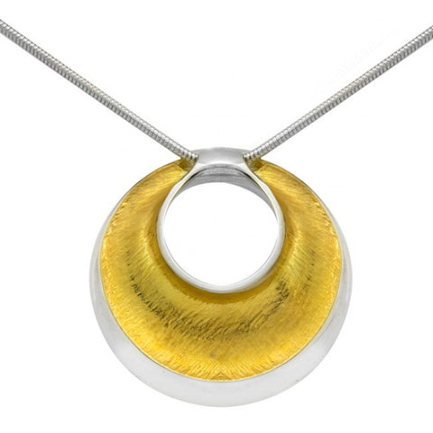 Seamus Gill Flowing Curves Round Yellow Gold Plated Silver Necklace