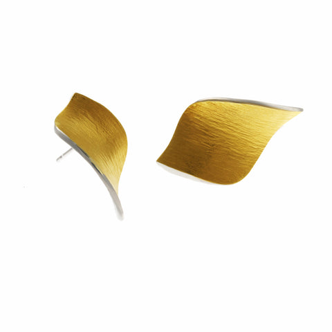 Seamus Gill Flowing Curves Large Leaf Yellow Gold Plated Silver Earrings