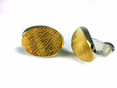 Seamus Gill Flowing Curves Yellow Gold Plated Silver Cufflinks