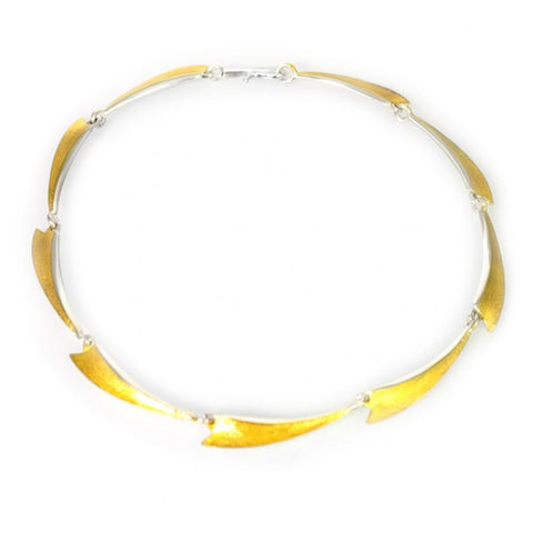 Seamus Gill Flowing Multi Curves Yellow Gold Plated Silver Necklace