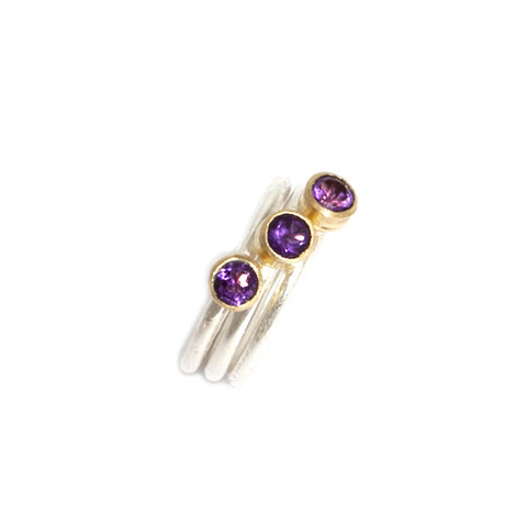 Shimara Carlow Yellow Gold 3 Brilliant Cut Lavender Stone 18ct White Gold Ring