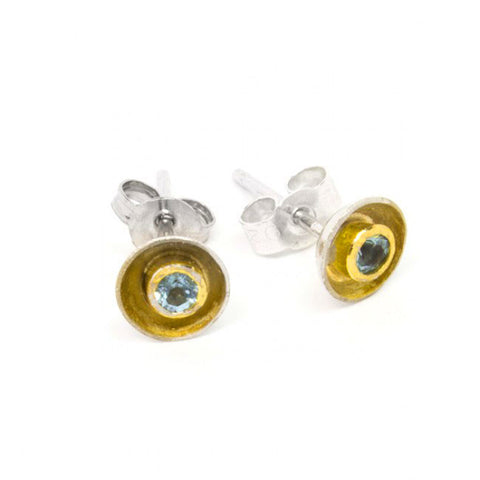 Shimara Carlow Aquamarine Daisy Gold Plated And 18ct White Gold Earrings