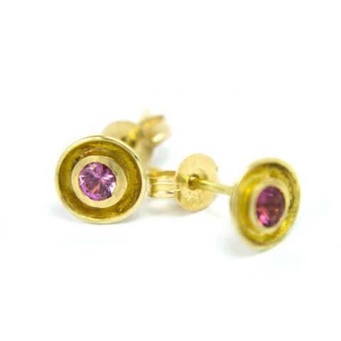 Shimara Carlow Daisy Pink Sapphire 18ct Yellow Gold Earrings