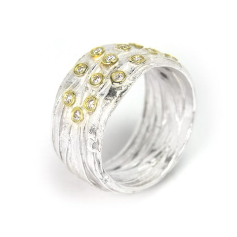 Shimara Carlow Silver Wrap ring with 15 Diamonds