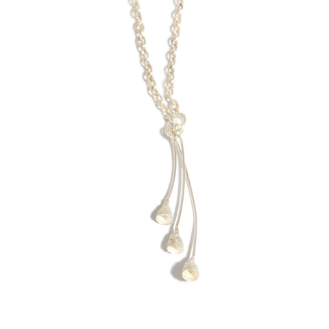 Shimara Carlow 18ct Yellow Gold Detail Drop Silver Necklace