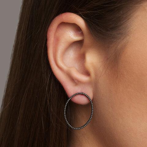 Sophia Epp Oval Double Oxidised Silver Earrings