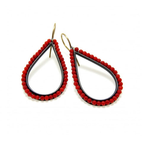 Sophia Epp Coral Drop Oxidized Silver Earrings