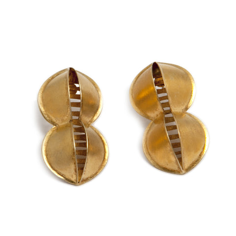 Sophia Epp 'Doppelnavette' 22ct Yellow Gold Plated Stud Silver Earrings